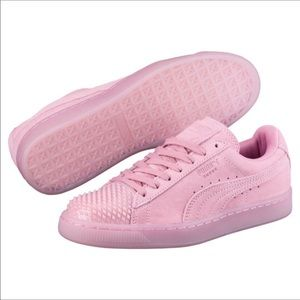 Puma Pink Suede Jelly Prism Sneakers Womens 10